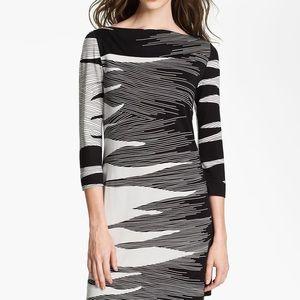 DVF Ruri Black/White 100% Silk Dress in Size 10